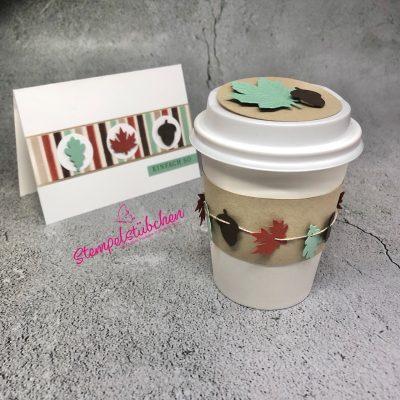 Kaffebecher herbstlich dekoriert mit den Produkten von Stampin Up. Idee von Stempelstübchen aus Rostock