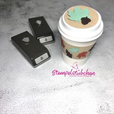Mini Kaffebecher von Stampin Up dekoriert mit Herbstblättern eine schöne Bastelidee für Kinder und Erwachsene