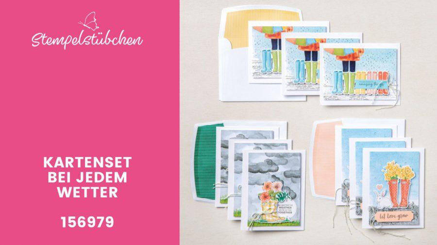 Basteln für Anfänger Kartenset von Stampin Up Bei jedem Wetter Motive für Regentage Basteln für Anfänger