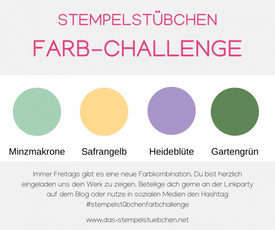 Farbchallenge-Stempelstübchen-Farbkombination-Stampin Up-Minzmakrone-Safrangelb-Heideblüte-Gartengrün