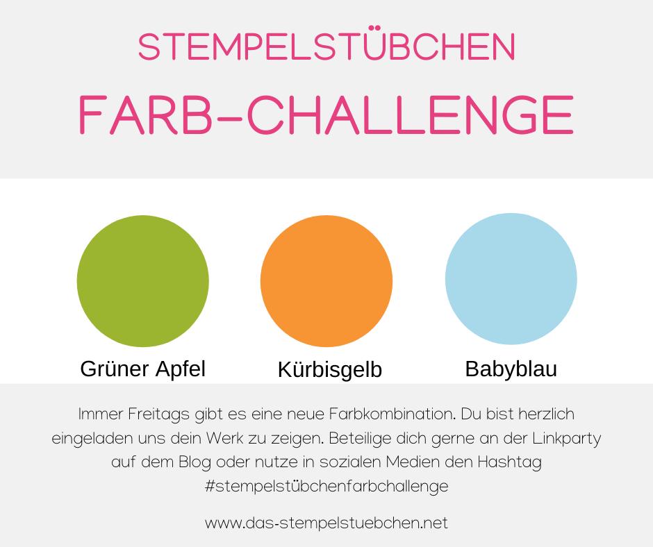 Kürbisgelb-babyblau-Grüner Apfel-Farbchallenge-Stempelstübchene