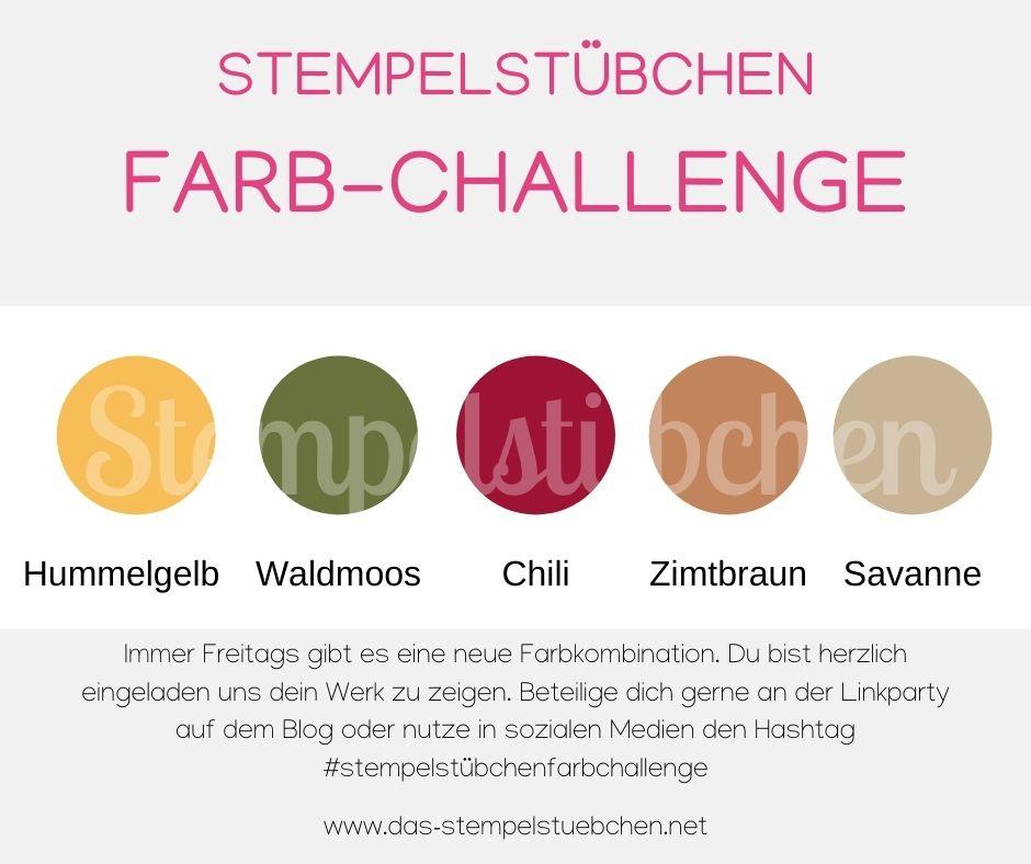 Stampin Up Hummelgelb Waldmoss Chili Zimtbraun Savanne Farbkombination