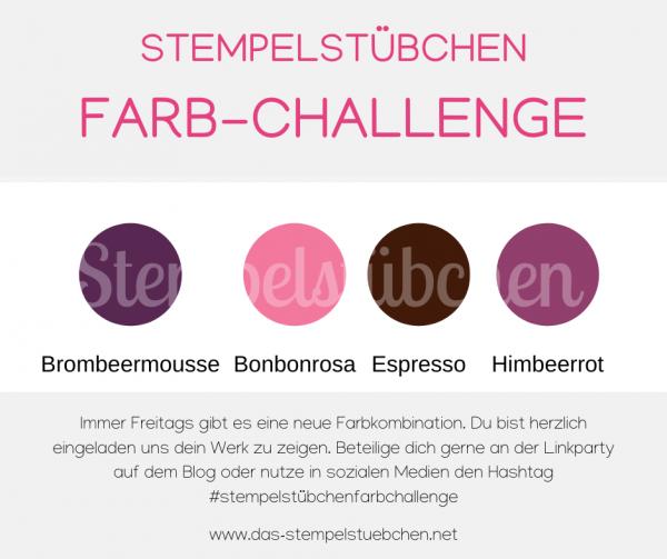 Farbkombination Farb-Challenge Brombeermousse Bonbonrosa Espresso Himbeerrot Stampin Up