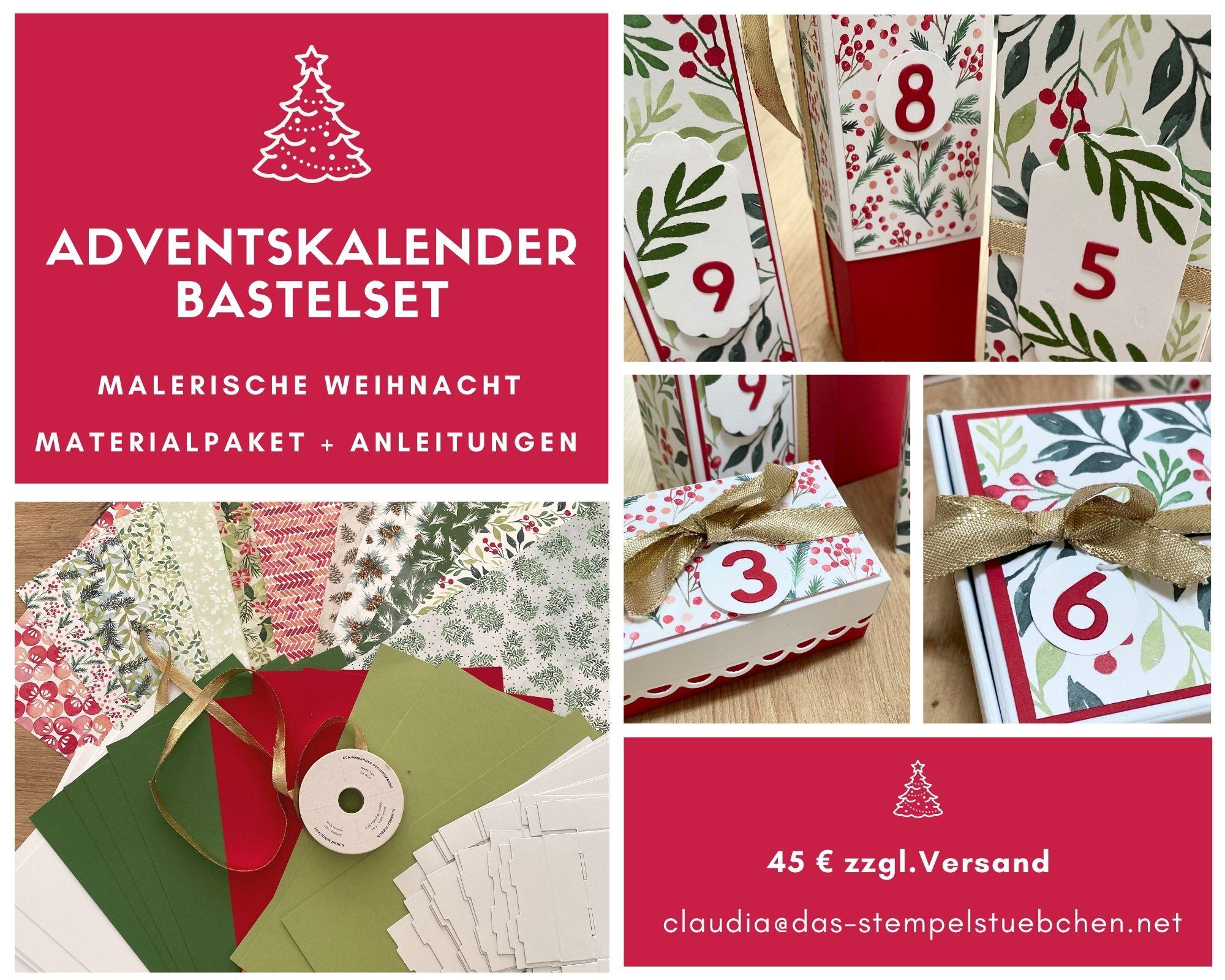 malerische weichnacht stampin up adventskalender basteln weihnachten